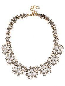 Collier De Perles De Mariage Faux Bijoux En Cristal - Blanc