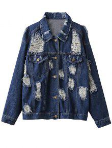 Distressed Denim Jacket - Purplish Blue S