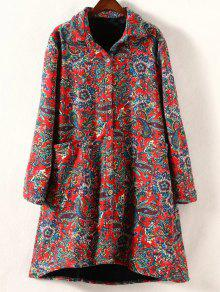 Retro Print Plus Size Fleece Coat - Red 4xl