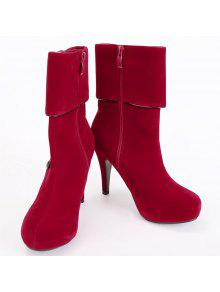 largest supplier for sale Fold Over Button Mid Calf Boots - Red 37 the cheapest cheap online new arrival classic online discount 2015 new GSzp7w