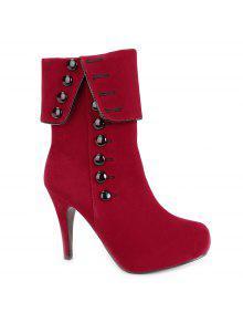 أضعاف فوق زر منتصف العجل الأحذية - أحمر 38