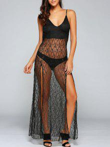 Vestido Trasparent Atractivo De Encaje Con Tirantes Finos Sin Espalda - Negro L