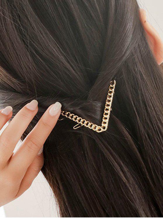 Eslabón de la cadena de la letra V Hairgrip - Dorado