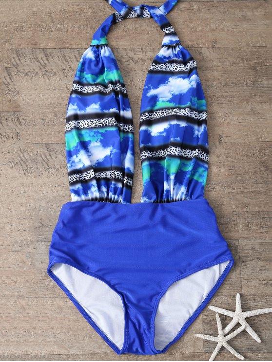 ملابس السباحة بالطبع من الواحد مع الفتحة الواطئة - أزرق L