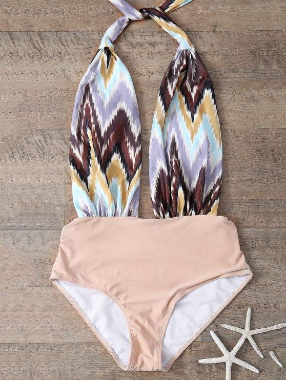 قطعة واحدة ملابس السباحة قطعة واحدة المطبوعة - ضوء كاكي L