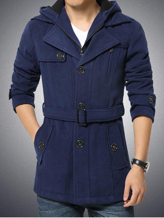 women's Button Embellished Zippered Hooded Belted Coat - CADETBLUE 4XL