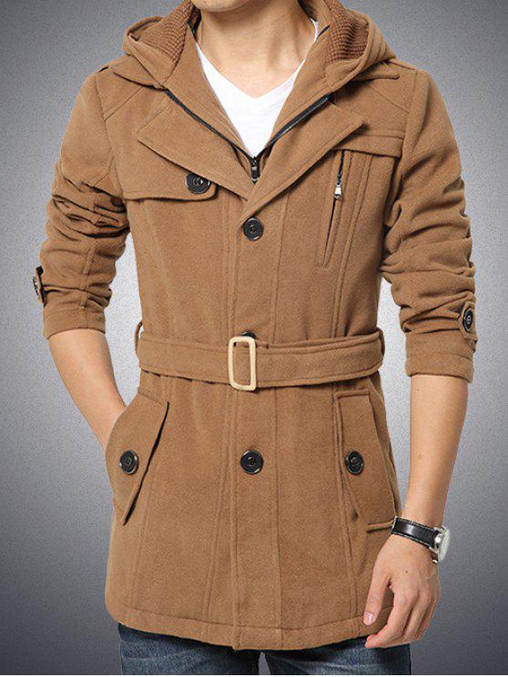 Cappotto Con Cintura E Cappuccio E Bottoni E Cerniera - Cachi XL