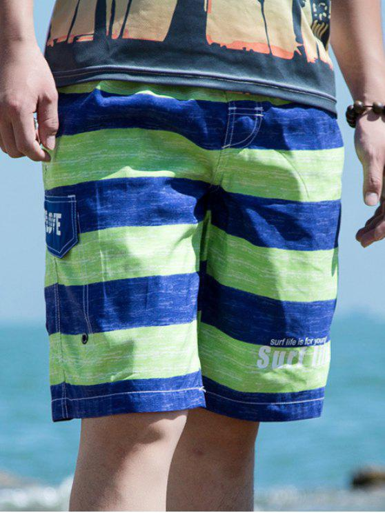 unique Drawstring Waist Letter Printed Striped Board Shorts - GREEN L