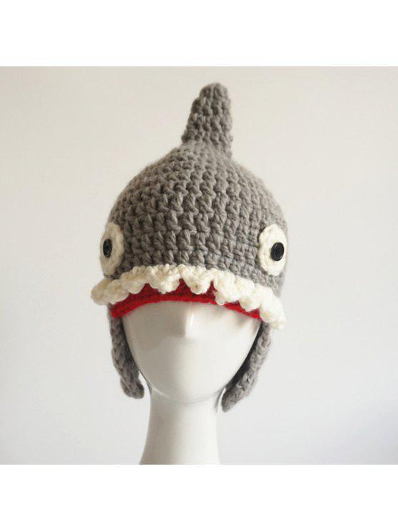 رسم كاريكتوري، سمك القرش، شكل، محبوك، بيني - رمادي