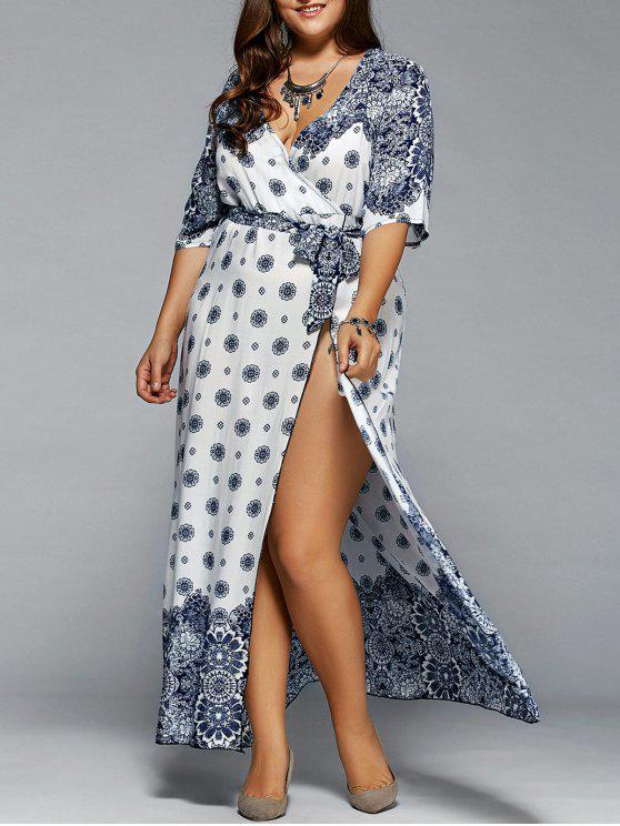 23% OFF] 2019 Plus Size Boho Print Flowy Beach Wrap Maxi Dress In ...