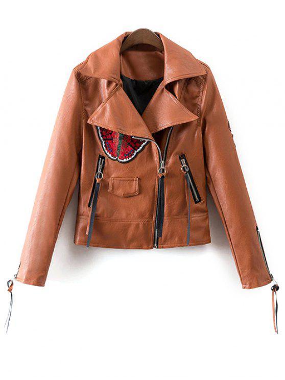 online Floral Patchwork Biker Jacket - BROWN S