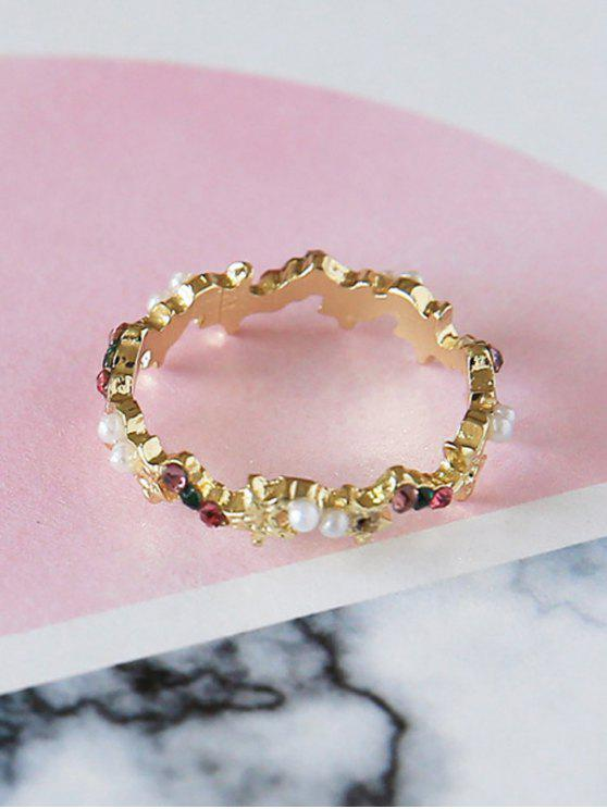 shop Small Faux Pearl Rhinestone Ring - COLORFUL