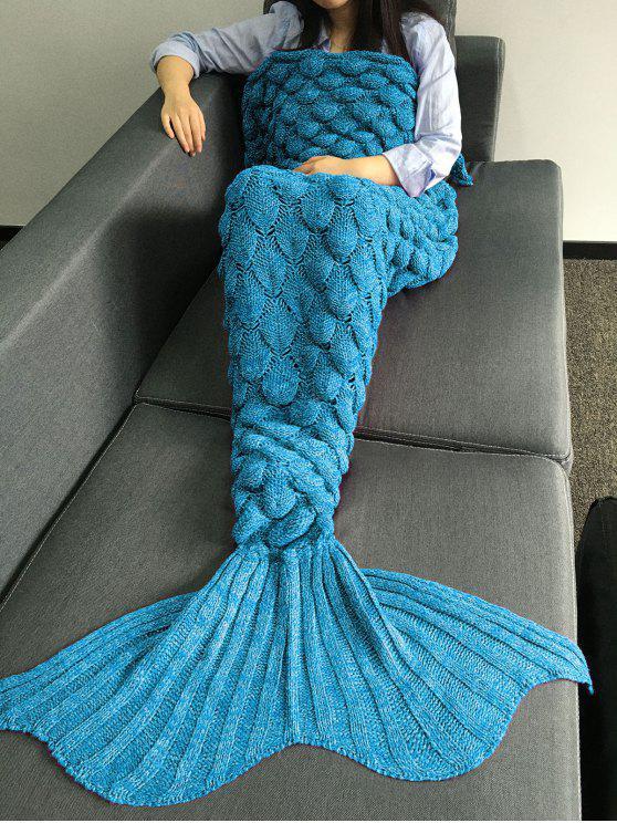 Couverture en forme de queue de sirène à motif d'écailles de poisson en tricot - Pers M