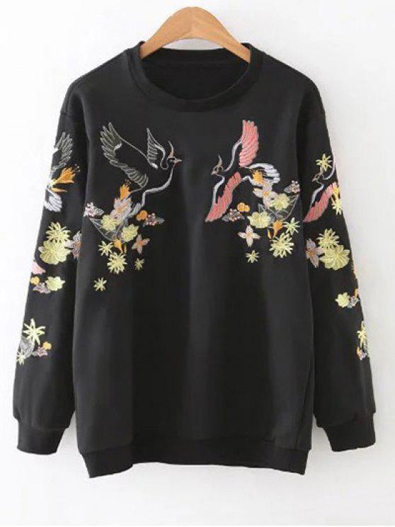 Pájaro bordado sudadera pulóver - Negro S