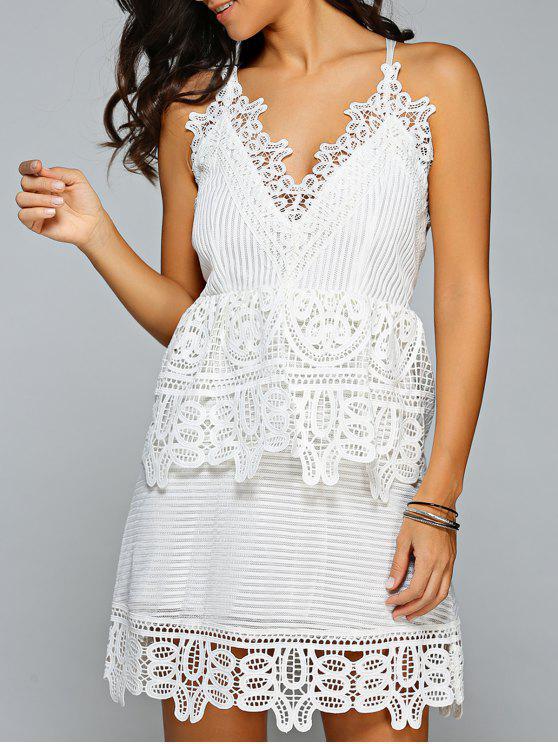 فستان خصر ذات الزخرفة   و الحزام بمادة المخرمات - أبيض M