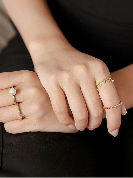 4 PCS perla de Faux anillos de Chevron - Dorado