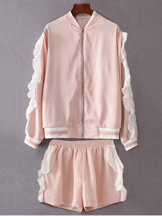 fancy Flounced Stand Neck Jacket With Shorts - PINK S