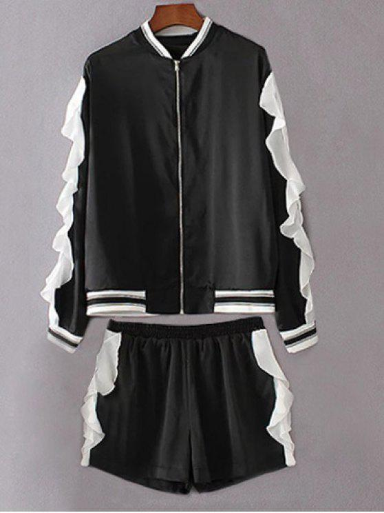 unique Flounced Stand Neck Jacket With Shorts - BLACK L