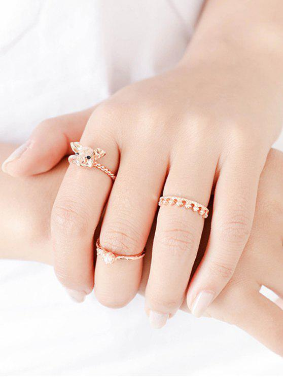 chic 3 PCS Little Pig Head Crown Rings - ROSE GOLD