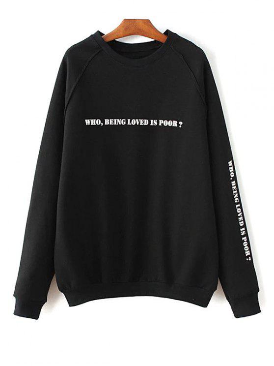 Raglán de la Carta de la camiseta - Negro L