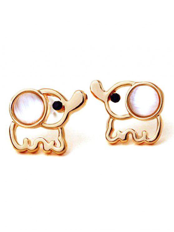 petites boucle d'oreilles en forme d'éléphant  en faux opale - Or