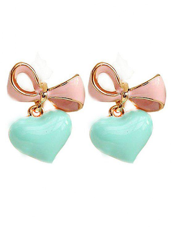 lady Bowknot Heart Drop Earrings - LIGHT GREEN