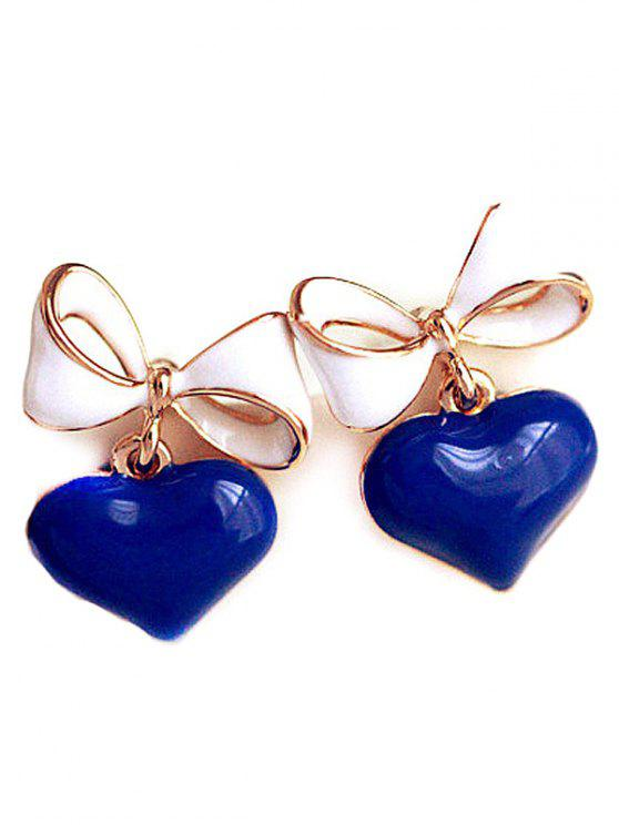 best Bowknot Heart Drop Earrings - DEEP BLUE