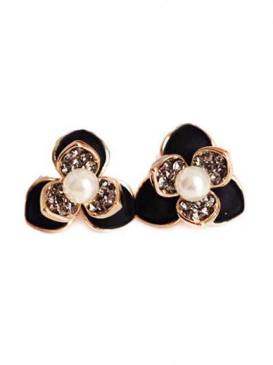 online Flower Faux Pearl Rhinestrone Stud Earrings - BLACK