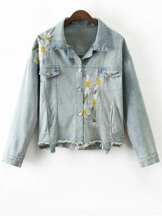 unique Daisy Embroidered Frayed Denim Jacket - LIGHT BLUE S