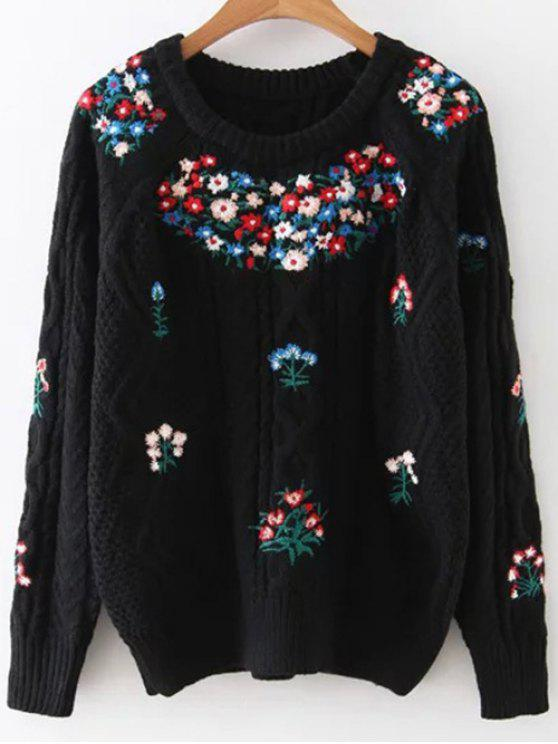ladies Flower Embroidered Sweater - BLACK ONE SIZE