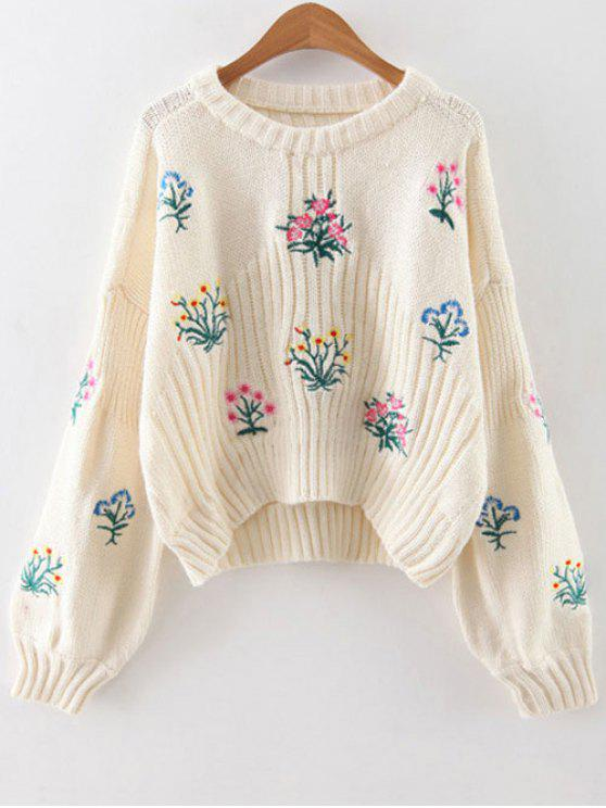 best Tiny Floral Embroidered Sweater - WHITE ONE SIZE