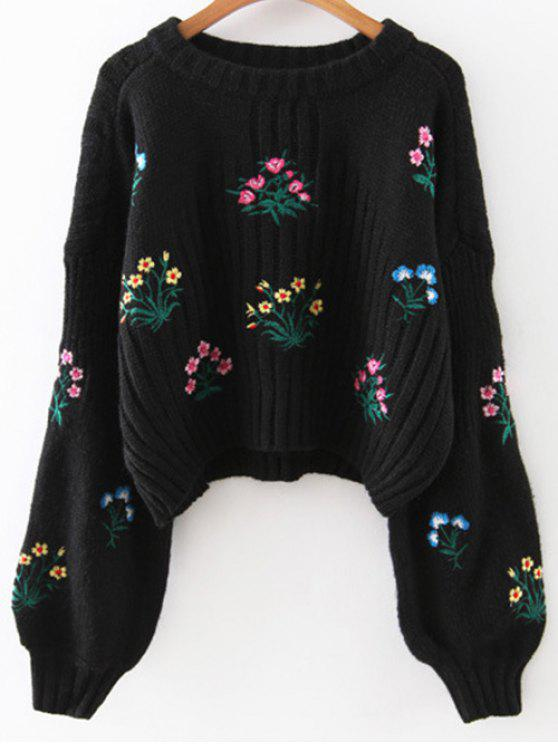 online Tiny Floral Embroidered Sweater - BLACK ONE SIZE