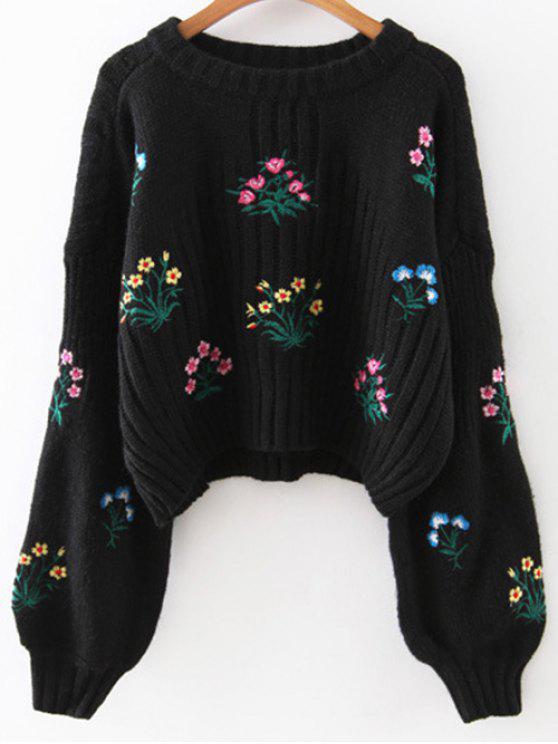 Tiny floral suéter bordado - Negro Única Talla
