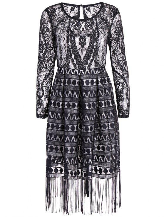 shop Long Sleeve Fringed Lace Midi Dress - BLACK M
