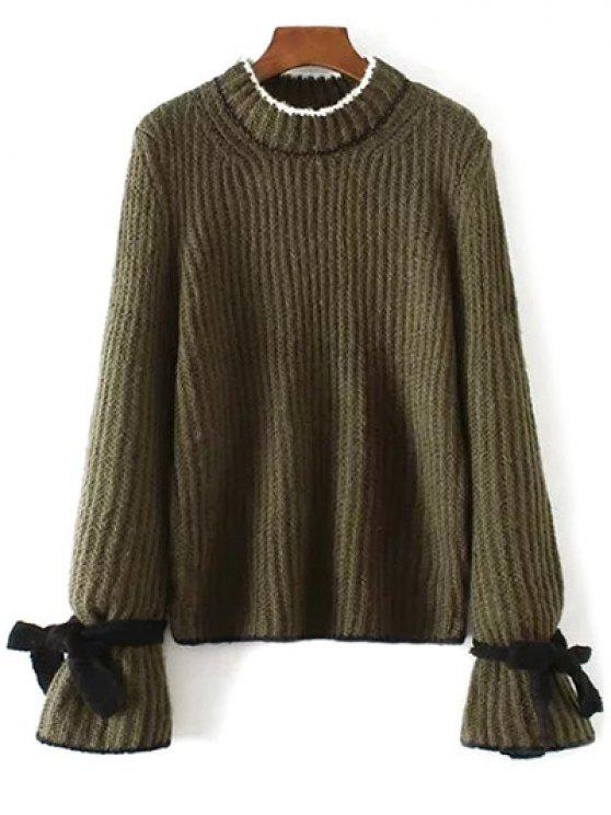 best Conrtast Trim Crew Neck Sweater - ARMY GREEN ONE SIZE