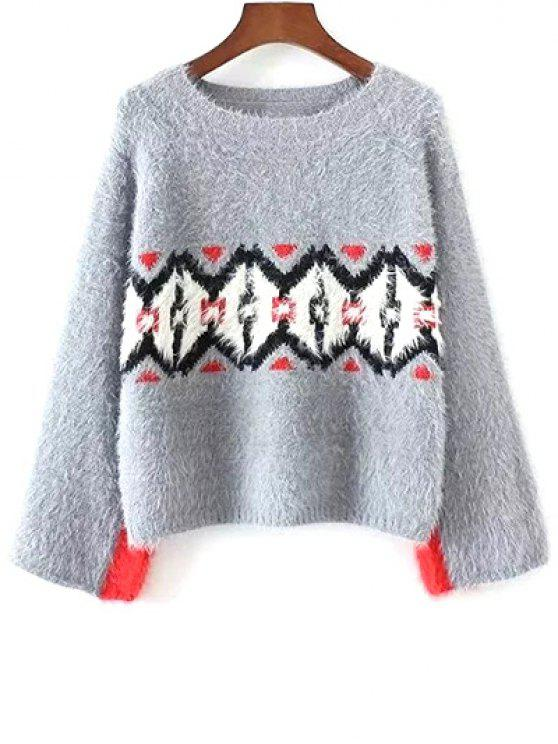Color Block Jacquard Sweater - GRAY ONE SIZE