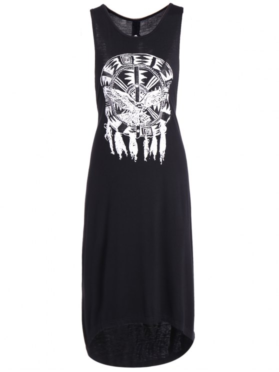 latest Printed Cutout High Low Hem Tank Dress - BLACK 2XL