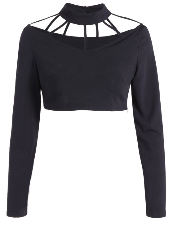 Camisa corta de manga larga Gargantilla - Negro M