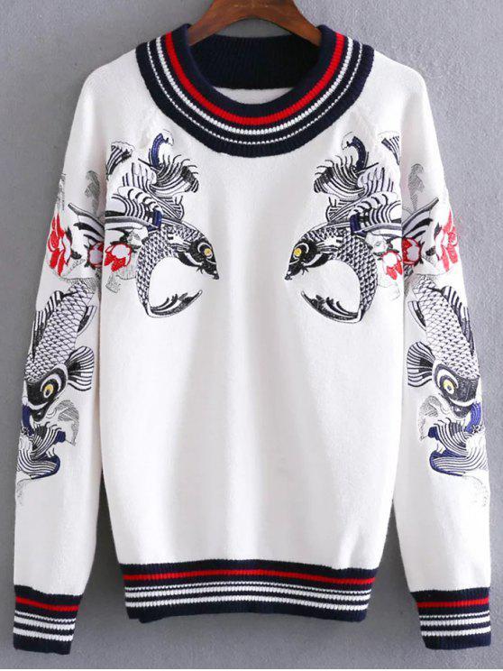 Fisch gestickter Pullover - Weiß Eine Größe