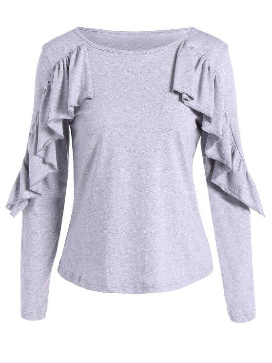 lady Long Sleeve Frill T-Shirt - GRAY S