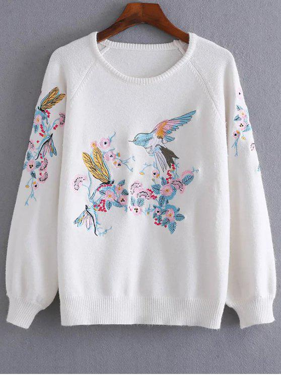 sale Bird Floral Embroidered Sweater - WHITE ONE SIZE