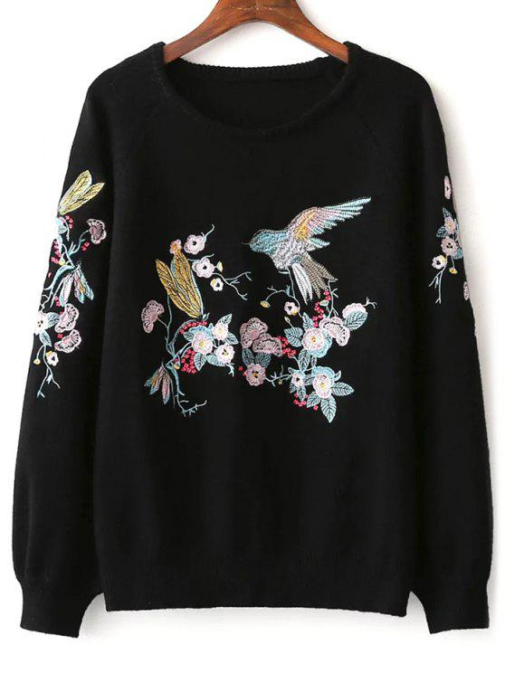 affordable Bird Floral Embroidered Sweater - BLACK ONE SIZE