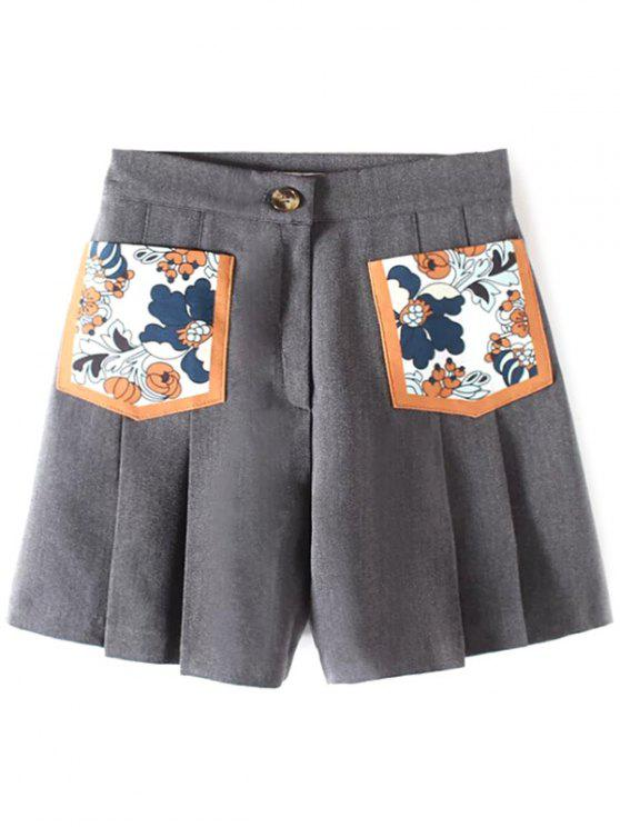 womens Pleated Pocket Patch Shorts - GRAY M