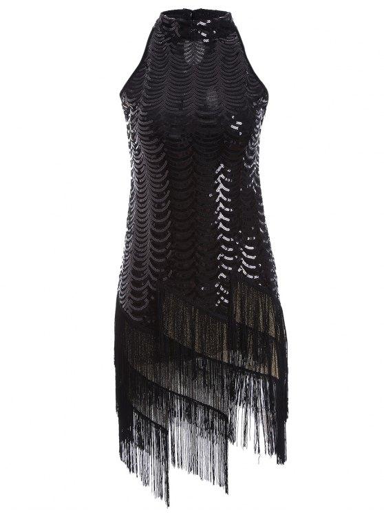 Vestido de las borlas del partido de las lentejuelas - Negro Única Talla