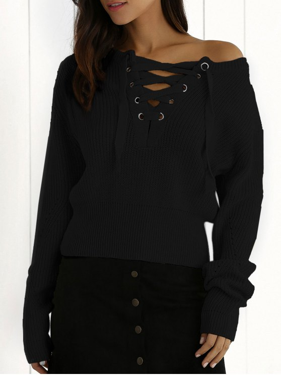 fancy Ribbed Lace Up Cropped Jumper - BLACK ONE SIZE