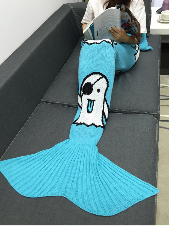 Halloween Ghost Multicolor Crochet Knitting Mermaid Tail Style Blanket - Azur