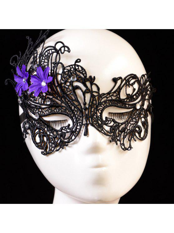 unique Rhinestone Floral Elastic Hair Band Party Mask - BLACK