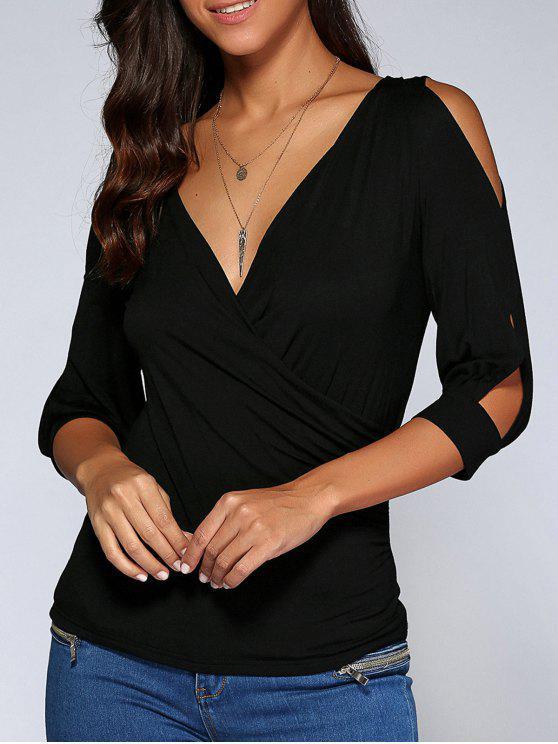 best Cold Shoulder V Neck Top - BLACK S