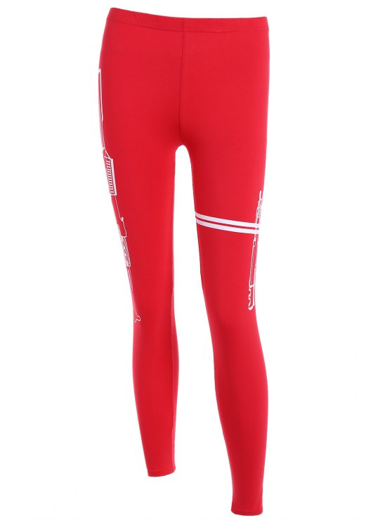 unique Elastic Running Leggings - RED ONE SIZE