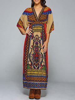 Robe Multicouleur En Col V Et En Forme De Kimono à  Manches Mi Longues